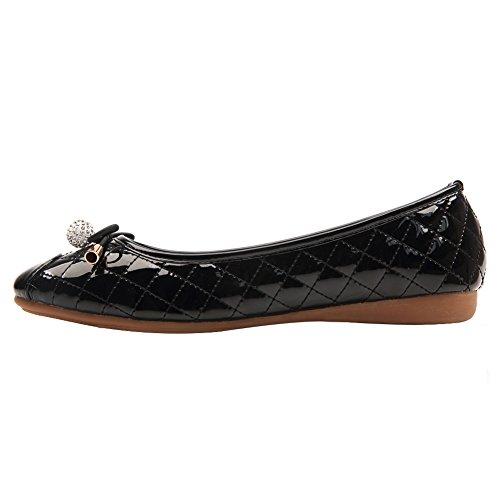 Weweya Femmes Bow Tie strass Ballet plat Noir