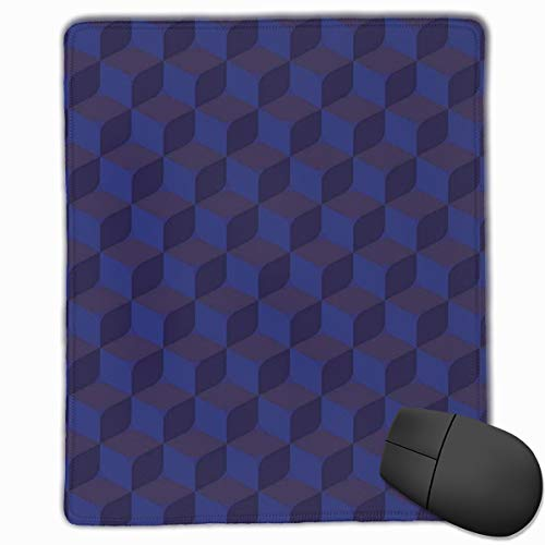 Mouse Mat Stitched Edges, 3D Print Like Geometrical Futuristic Inspired Shadow Boxes Cubes Image Print,Gaming Mouse Pad Non-Slip Rubber Base -