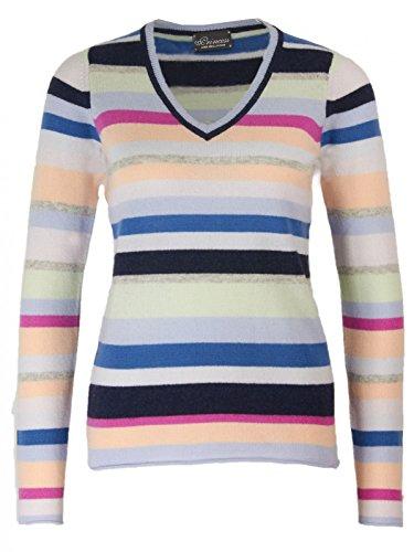 Princess goes Hollywood Damen Gestreifter V-Neck Cashmere-Mix Pullover, Größe:38;Farbe:Bunt (Cashmere Streifen-pullover)