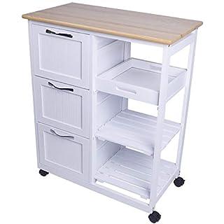 Küchenwagen Servierwagen auf Rollen, mit Schubladen und Arbeitsplatte aus Holz, im Landhausstil, weiß