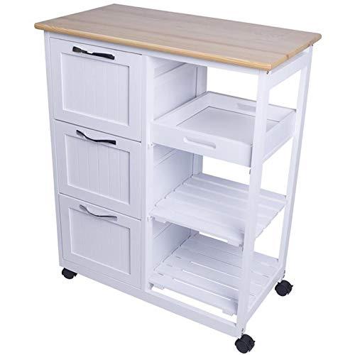 Küchenwagen auf Rollen, Servierwagen mit 3 Schubladen, Arbeitsplatte aus Holz, Rollwagen im Landhausstil, Rollwagen, Küchentrolley weiß