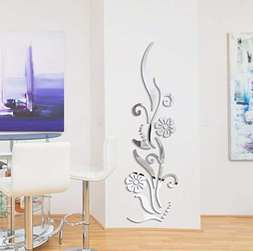 VandelktDiy Blume Poster Dekorative Rambling Vine Acryl R Wandaufkleber Wand Dekor 3D Raumdekoration Abziehbilder Silber Rambling Vine