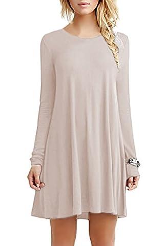 YMING Damen Frühling Herbst Kleid Casual Langarm Tunika Rundhals Basic Blusenkeid,Kaki,XL (Langarm Schwangerschafts-tunika)