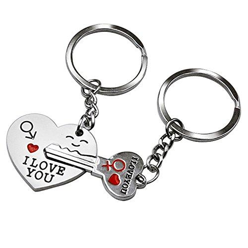 Ducomi® i love you - coppia di portachiavi complementari amore - 1 portachiave cuore + 1 portachiave chiave - regalo san valentino per fidanzati e innamorati