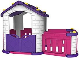 بست توي بيت لعب كبير للاطفال مع غرفة خارجية، متعدد الالوان