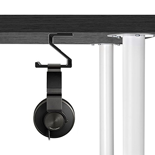 Kopfhörer Ständer, GVDV Kopfhörerhalterung aus Aluminium unter Schreibtisch Headset Halterung Kopfhörer halter Standplatz für alle Headset Kopfhörer (Schwarz) - 9