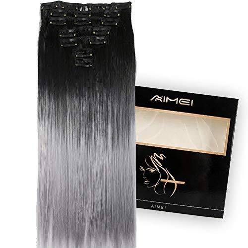 Neverland 24 zoll 7 stücke 16 Clips Zwei Ton Lange Gerade Haarspange In Haarverlängerungen Perücke Haarteil (Schwarz zu Splitter Grau)