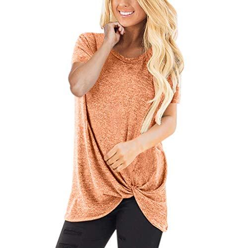 QingJiu Damen Lässig Einfarbig Kurzarm Rundhals Shirt Geknotet T-Shirt Top(S-3XL)