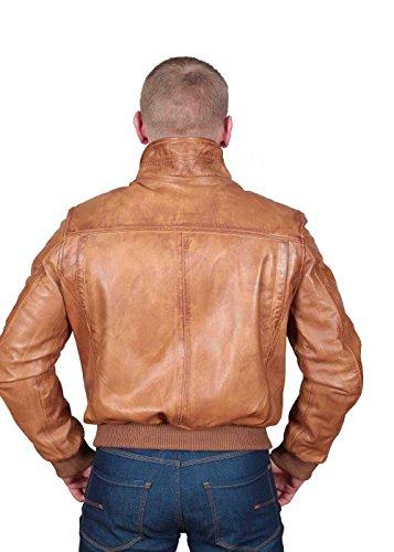 Herren Gepaßte Bomber Lederjacke Designer weiche hochwertige Mantel George hellbraun - 2