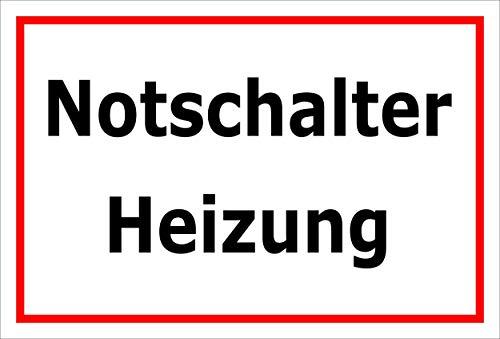 Melis Folienwerkstatt Schild - Notschalter Heizung - 15x10cm | 3mm Hartschaum - S00070-078-B -20 VAR -