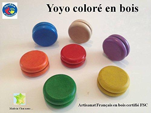Yoyo en bois coloré de 55 mm, artisanat français