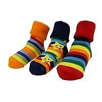 Baby Boys Girls Winter Thick Rainbow Stars Anti-slip Socks Pack of 3 Gift Set Age 6-24 Months