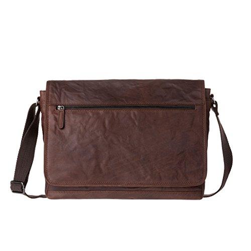 Borsa uomo a tracolla in Vera pelle stropicciata Vintage Messenger bag Porta PC DUDU Marrone