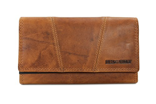Hill Burry Vintage Leder Damen Geldbörse Portemonnaie braun | rot | grau | schwarz aus weichem Leder - 17,5x10x3cm (B x H x T) (Geldbörsen Damen)