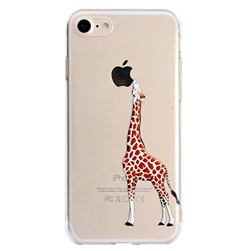 Sycode Custodia per iPhone 8 Plus 5.5,Cover per iPhone 7 Plus 5.5,Silicone Trasparente Case per iPhone 8 Plus/7 Plus 5.5,Liquido Cristallo Chiaro Carina Divertente Motivo Cartone Elefante Delfino i Giraffa