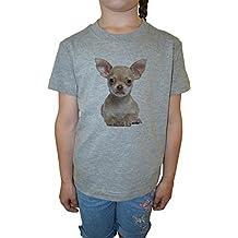 Chihuahua Perro Raza Niña Niños Camiseta Cuello Redondo Gris Algodón Manga Corta Girls Kids T-shirt Grey