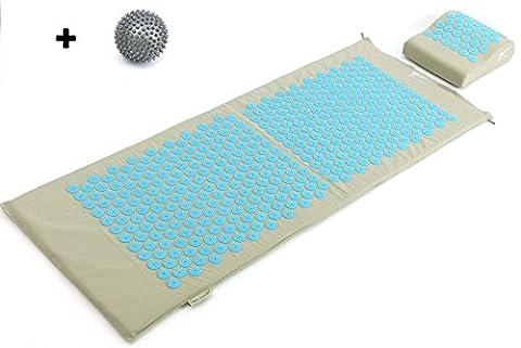 Kit d'acupression XL Fitem - Tapis d'Acupression + Coussin + Boule de Massage - Soulage douleurs Dos et Cou - Sciatique - Massage dos - Relaxation Musculaire - Acupuncture - Récupération post-sport (Gris-Turquoise)