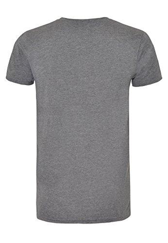 SUBLEVEL Herren Print-Shirt | Meliertes Basic T-Shirt mit Aufdruck & Rundhals-Ausschnitt middle-grey