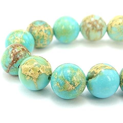 jennysun2010gemma naturale liscia rotondo Loose Beads 4mm, 6mm, 8mm, 10mm, 12mm, 1filo per borsa per braccialetto collana orecchini gioielli artigianato design guarigione, Aquamarine Light Blue, 6 mm