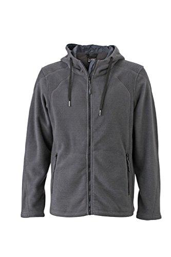 JAMES & NICHOLSON Moderna giacca in pile con cappuccio Carbon/Black