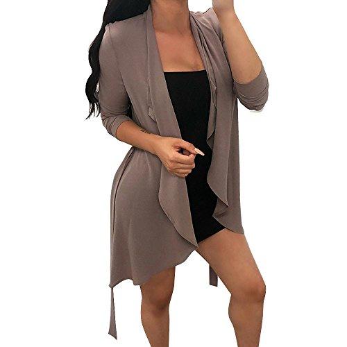 OSYARD Damen Schlanker Unregelmäßige Langarm Mäntel, Frauen Langarm Chiffon Unregelmäßige Kragen Strickjacke Mantel Tops Mantel Westen (XL, Khaki)