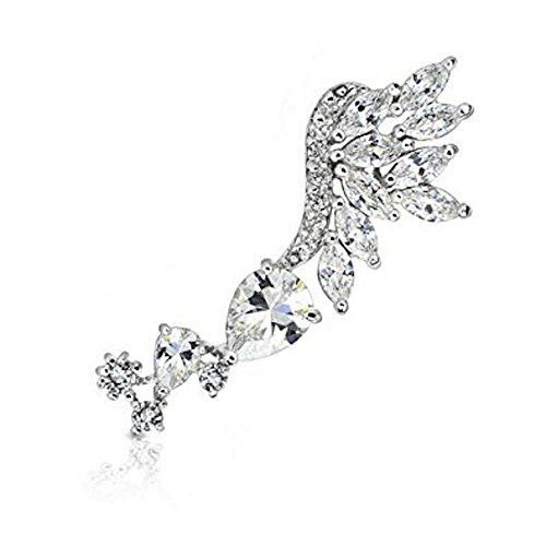 Exquisite Multi Clear Crystal Cut Skyfall Winged RIGHT Messing Ohrstulpe Lobe, Tragus oder Knorpel Piercing Dicke: 0.8mm Material: Messing Beschichtung: ()