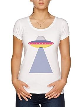 Vendax Espacio Barco Camiseta Mujer Blanco