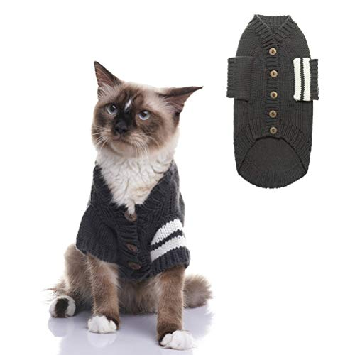 EXPAWLORER Katzen-Pullover für kalte Wetter; graue Strickjacke für Katzen und Kleine Hunde, Chest: 20
