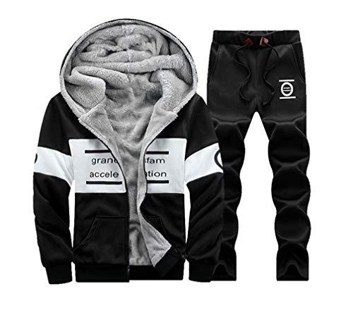 Herren Trainingsanzug Fleece gefüttert Full Zip Top + Bottoms Joggenanzug Fitnessanzug 3XL Schwarz Fleece Full Zip Suit