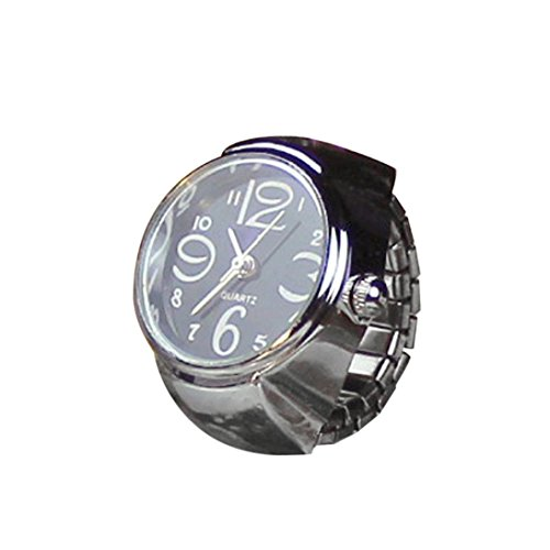Rcool Reloj Anillo Cuarzo Metal creativo elástico Esfera Redonda Analógico para Mujer (Negro)