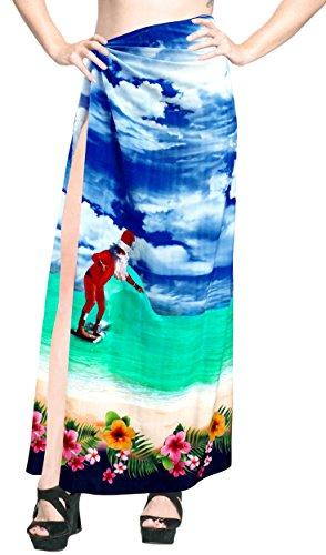 Zu Bademode coverup Sarong Frauen Badebekleidung Kleid Rock Baden Wrap blau (Sarong Baden-abdeckung)