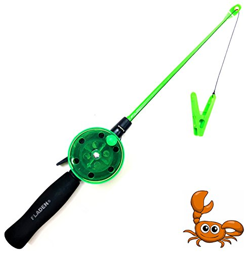 Fladen Fishing Kinder Angel Krebsangel Schwarz / Pink / Grün 40cm - Kinderangel Krebs & Krabben Rute (Grün)