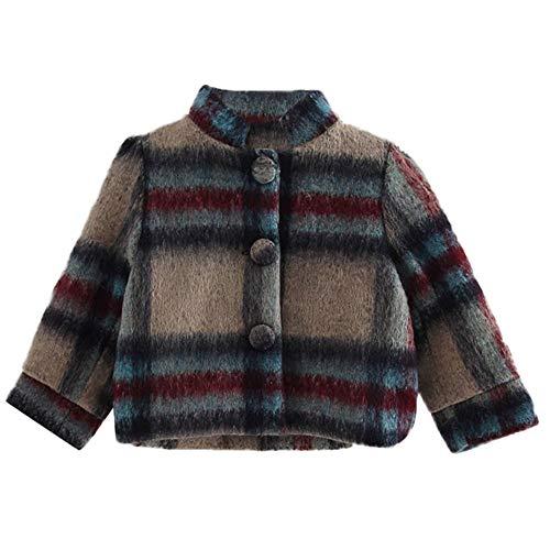 Xmiral Chaqueta de Cuadros Raya Abrigo de Lana para Niñas de Botones Calentito Elegante Cazadora para Invierno Coat, 2-3 años