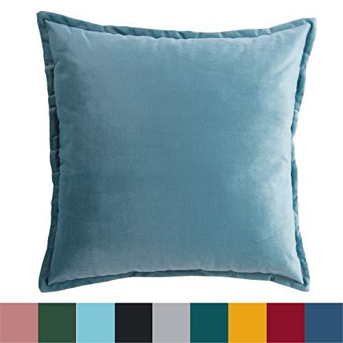 Bedsure Kissenhülle Kissenbezug 45x45 cm Blau für Sofakissen Dekokissen - Samt Kissenbezüge Zierkissenbezug für Weihnachten aus Super Weicher und Flauschiger Uni Farbe Samt