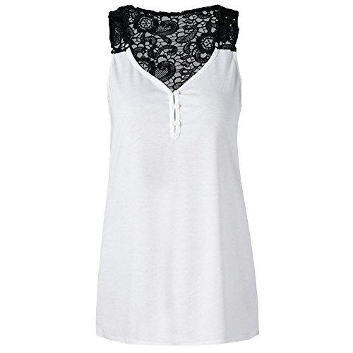 MOIKA Damen Tank Tops, New Frauen-Blumenspitze Reißen Trägershirt-Sleeveless Dünne Weste-Reine Elegante T-Shirts Hoch
