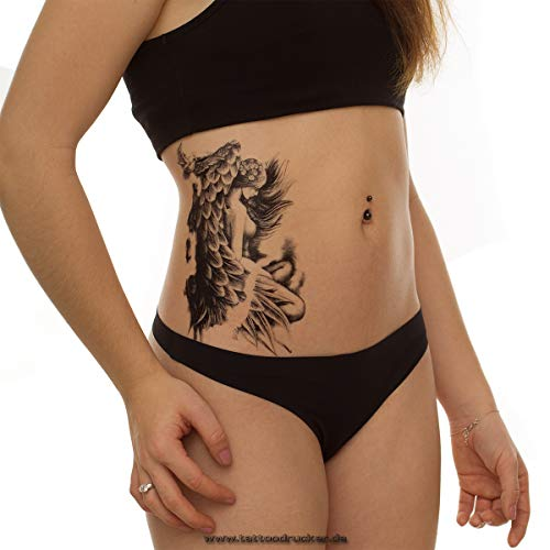 2 x schwarzes Engel XL Tattoo - Flügel Federn Vogel - Body Temporary Tattoo - HB802 (2)