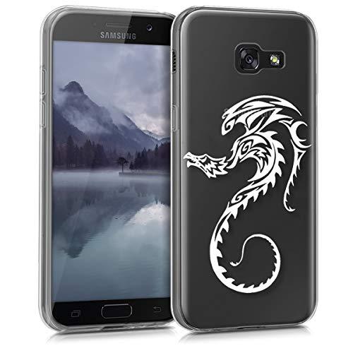 kwmobile Funda para Samsung Galaxy A5 (2017) - Carcasa de [TPU] para móvil y diseño de dragón en [Blanco Transparente]