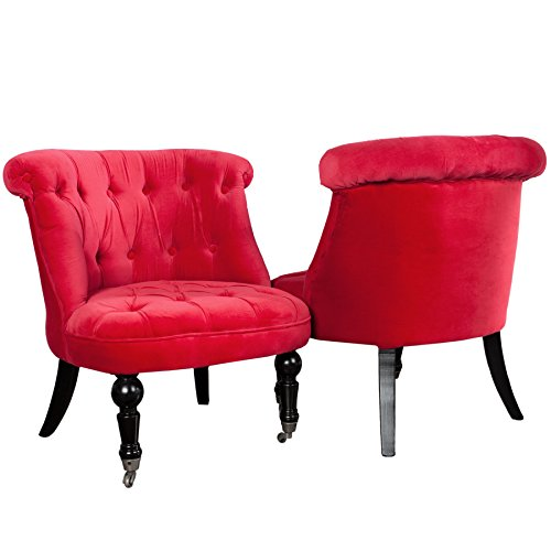 Stylischer Design Sessel JOSEPHINE Leinen rot Stoff Wohnzimmersessel Esszimmerstuhl hohe...