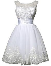 MissFox Donna Partito Cocktail Vestito con Paillettes Senza Maniche S Bianco 137308fc7b0