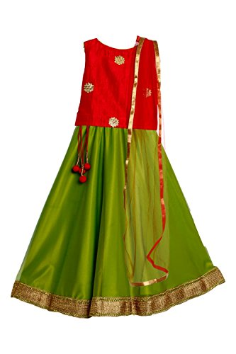 Meringue Girl's Embroidered Top Net Lehenga with Dupatta(ME-LEH-RE-GR-NE-3-4-001_Green & Red_3-4 years)