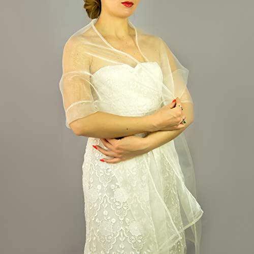 Stole donna organza scialli vestito da sposa nuziale poncho avorio off-white