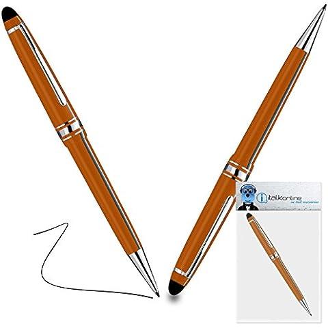 iTALKonline Microsoft Surface RT Arancione PRO Captive Toccare Punta penna stilo con punta in gomma con Rullo di Penna