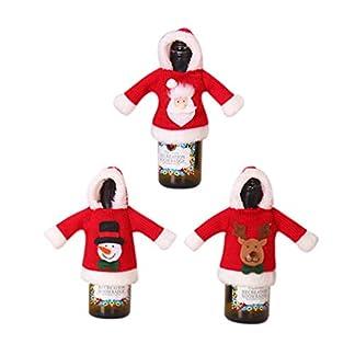 Amosfun 3 Piezas Funda de Botella de Vino de Navidad Cubierta de Botella de Vino de Ropa con Papá Noel Muñeco de Nieve Decoración de Navidad