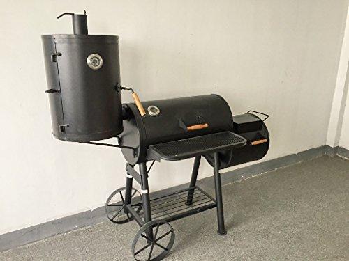"""75kg – KIUG® XXL (ABC) """"TEXAS"""" Smoker BBQ GRILLWAGEN Holzkohle Grill Grillkamin ca. 2,0 mm Stahl PROFI-QUALITÄT"""
