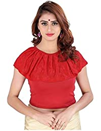 Fressia Fabrics Women's Cotton Lycra Stretchable Readymade blouse (158red)