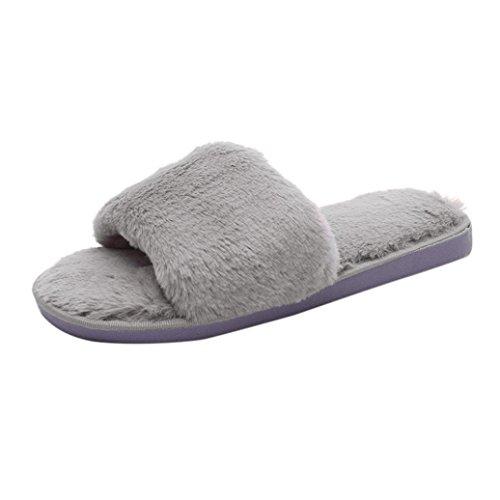 Da donna scivolare su pelliccia fluffy faux slipper piatto (grigio, 40)