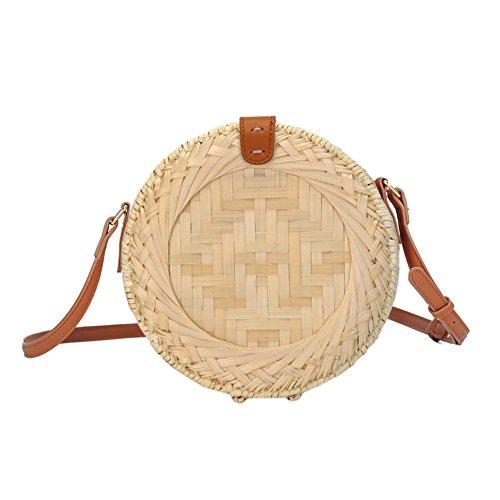 Biback Bolso de Hombro Redondo Manera tejida bolsos de hombro de la paja Bolso de Playa