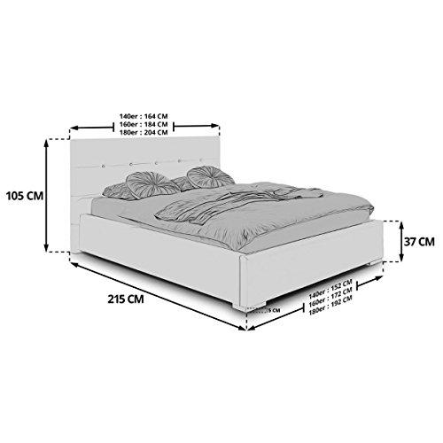 Polsterbett Bett mit Bettkasten 140×200 Weiß Betty Lattenrost Doppelbett Kunstleder