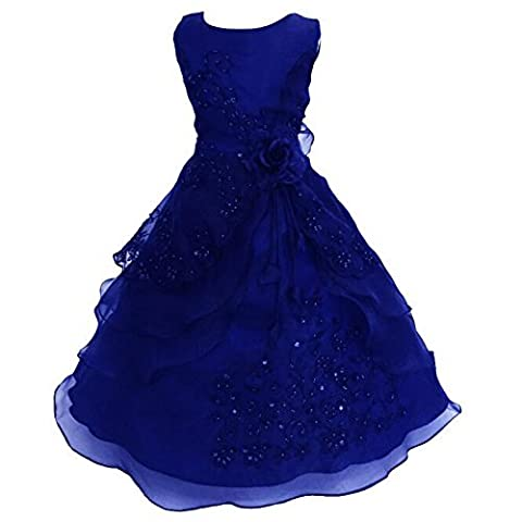 Live It Style It Girls Flower Embroidered Dress Layered Formal Wedding Party Bridesmaid Prom Ball Gown Dresses (11-12 Years, Navy