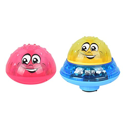 Watopi 2pcs Baby Sparkling Induction Sprinkler Light Bath Toy Baby Spray Ball LED, 2 Music with Flashing Light for Baby Toddlers Summer Party Pond Pool